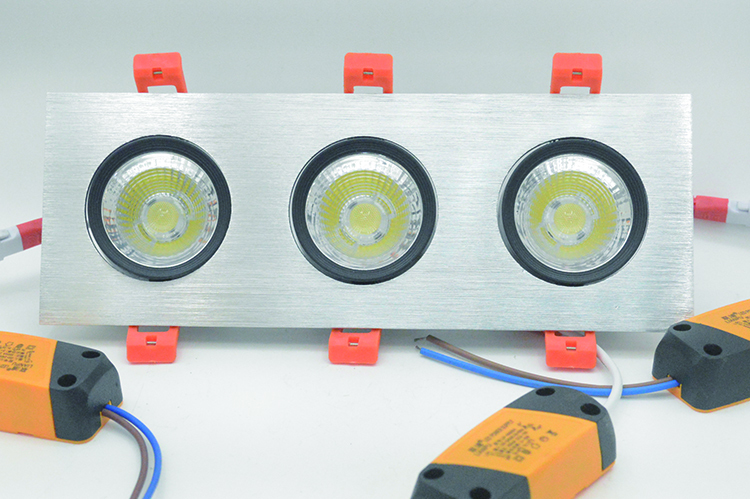 LED Grille lamp with triple heads and brushed aluminium housing